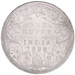Silver One Rupee Coin of Victoria Empress of Bombay Mint of 1898.