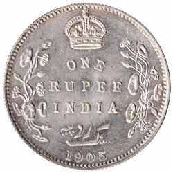 Silver One Rupee Coin of King Edward VII of Bombay Mint of 1905.