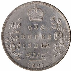 Silver One Rupee Coin of King Edward VII of  Bombay Mint of 1907.
