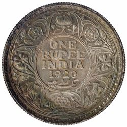Silver One Rupee Coin of King George V of Bombay Mint of 1920.