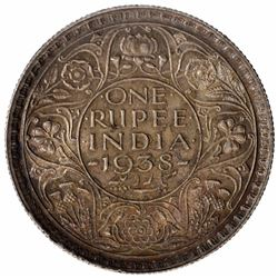 Silver One Rupee Coin of King George VI of Calcutta Mint of 1938.