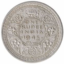 Silver One Rupee Coin of King George VI of Lahore Mint of 1945.
