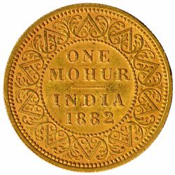 Gold One Mohur Coin of Victoria Queen of Calcutta Mint of  1882.