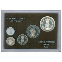 Jawaharlal Nehru Birth Centenary Proof Set of Bombay Mint of the Year 1989.