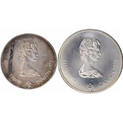 Silver Five Dollors & Ten Dollors Coin of Elizabeth II of Canada.