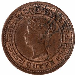 Copper Quarter Cent Coin of Queen Victoria of Ceylon of 1890.