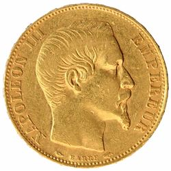 Gold Twenty Francs Coin of Napolean III of France.
