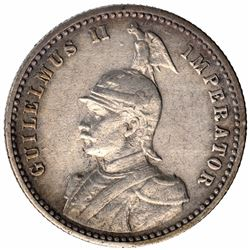 Silver One Quarter Rupie Coin of Kaiser Wilhelm of German East Africa.
