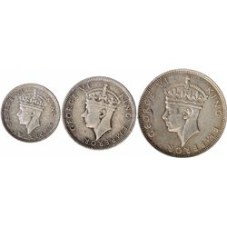 Silver Twenty Five Cents & Rupees Coins of King George VI of Seychelles.