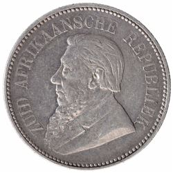 Silver Two and Half Shillings of South Africa of Johannes Paulus Kruger of 1897.