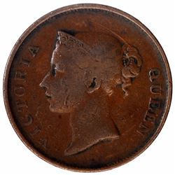 Copper One Cent Coin of Victoria Queen of Strait Settlement.