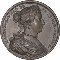 Bronze Medallion of Queen Mary II of Great Britain.