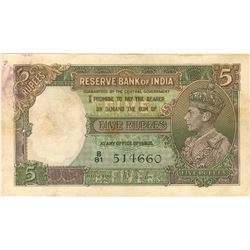 Five Rupees Bnak Note Signed By J B Taylor of King George VI of 1938.