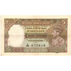 Five Rupees Bank Note Signed By J B Taylor of King George VI of 1938.