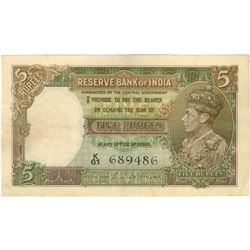 Five Rupees Bank Note Signed By C D Deshmukh of King Goerge VI of 1944.