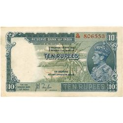 Ten Rupees Bank Note Signed By J B Taylor of King George VI of 1938.