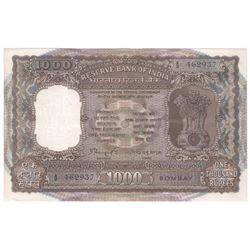 1000 Rupees Bank Note Signed By N C Sengupta of Bombay Circle of 1975.