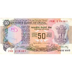 Error 50 Rupees Bank Note Signed By R N Malhotra.