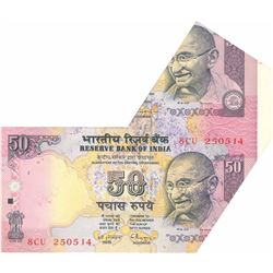 Error 50 Rupees Bank Note Signed By C Rangarajan.