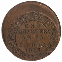 Error Copper One Quarter Anna Coin of King Edward VII of 1907.