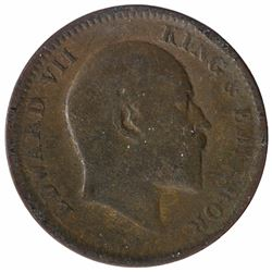 Error Copper One Quarter Anna Coin of King Edward VII.