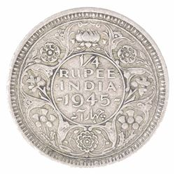 Silver Quarter Rupee Coin of King George VI of Bombay Mint of 1945.