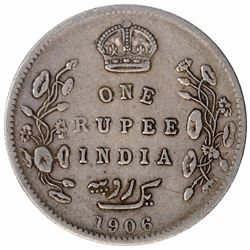 Error Silver One Rupee Coin of King Edward VII of 1906.