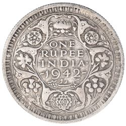 Error Silver One Rupee Coin of King George VI of Bombay Mint of 1942.
