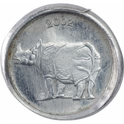 Error Steel Twenty Five Paise Coin of Republic India of 2002.