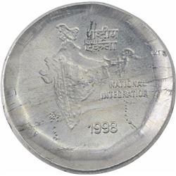 Error Cupro Nickel Two Rupees Coin of Republic India of 1998.
