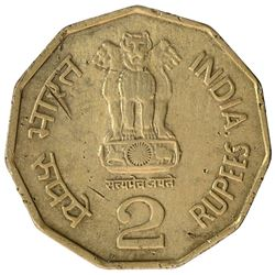 Copper Nickel Two Rupees Error Coin of Republic India of 1999.