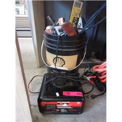 Bucket of Tools & Battery Charger