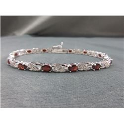 6 CT Garnet & Diamond Tennis Bracelet