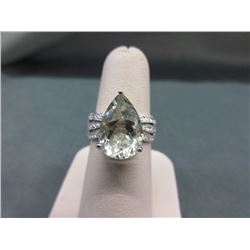 4.53 CT Green Amethyst & Diamond Dinner Ring