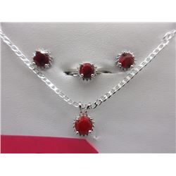 New Matching Ruby Earring, Necklace & Ring Set