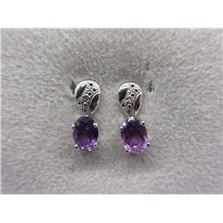 New 1.7 CT Amethyst & Diamond Stud Earrings