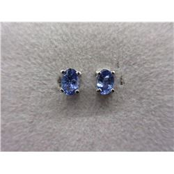 New 1 CT Oval Tanzanite Stud Earrings