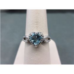 Blue Topaz & Diamond Sweetheart Ring