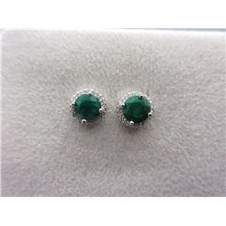 New 2.25 CT Emerald & Diamond Earrings