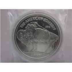 1 Oz. .999 Silver Bullion Zombie Buffalo Art Round