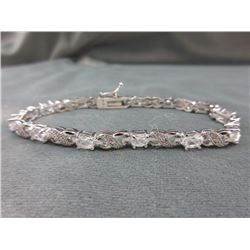 6.84 CT White Topaz & Diamond Tennis Bracelet