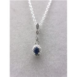 Blue Sapphire & Diamond Drop Necklace