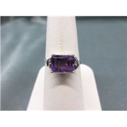 Amethyst & Diamond Solitaire Ring