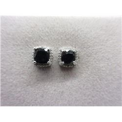 New Blue Sapphire & Diamond Stud Earrings
