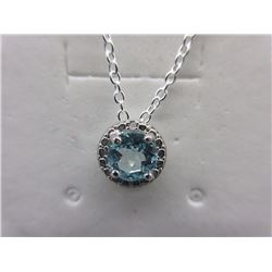 2 CT Blue Topaz & Diamond Slider Necklace