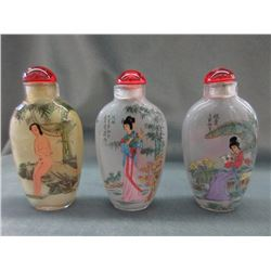 3 Hand Painted Chinese Snuff Bottles With Lids