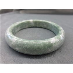 Carved Moss in Snow Jade Bangle Bracelet