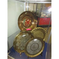 4 Large brass trays