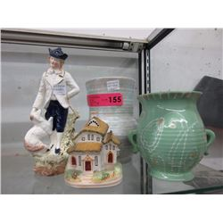 2 English art deco vases, figurines & more