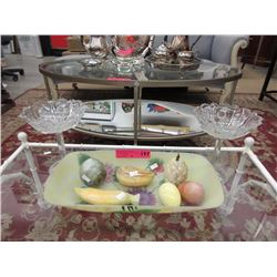 Glass tray & crystal pedestal dishes